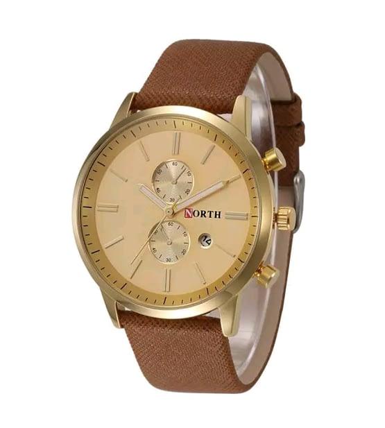 Aukso spalvos vyriškas laikrodis North