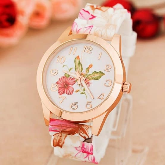 Gėlių dizaino moteriškas laikrodis