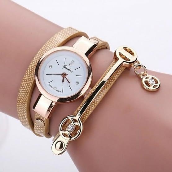 Aukso spalvos moteriškas laikrodis